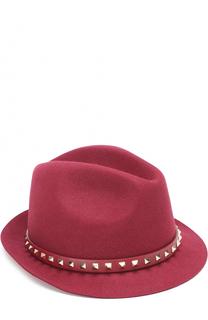Шляпа из ангоры с кожаным ремешком и заклепками Valentino