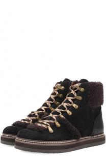 Комбинированные ботинки с меховой отделкой See by Chloé