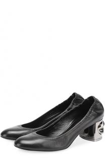 Кожаные туфли на декорированном каблуке Casadei