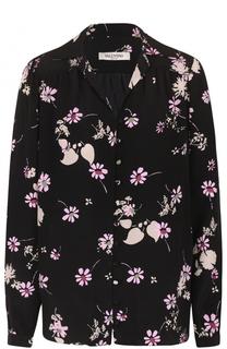 Шелковая блуза в пижамном стиле с принтом Valentino