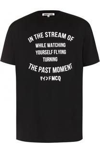 Хлопковая футболка с контрастной надписью MCQ