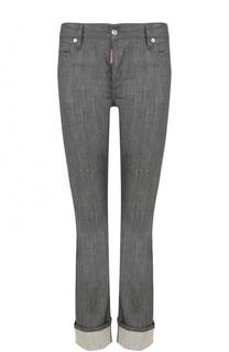 Однотонные укороченные джинсы с отворотами Dsquared2
