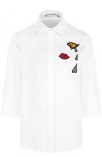 Хлопковая блуза с укороченным рукавом и вышивкой Mary Katrantzou