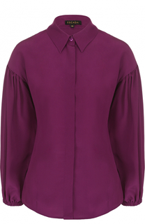 Шелковая блуза с укороченным рукавом-фонарик Escada