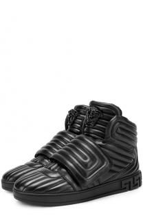 Высокие кожаные кеды с застежкой велькро Versace