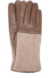 Кожаные перчатки с вязаной отделкой из кашемира Sermoneta Gloves