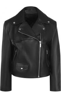 Укороченная кожаная куртка с косой молнией Helmut Lang