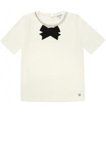 Хлопковая футболка с бантом и кристаллами Simonetta