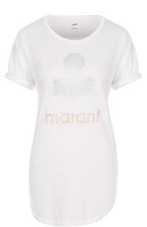 Льняная футболка с логотипом бренда Isabel Marant Etoile