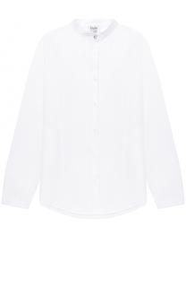 Хлопковая блуза прямого кроя с воротником-стойкой Aletta