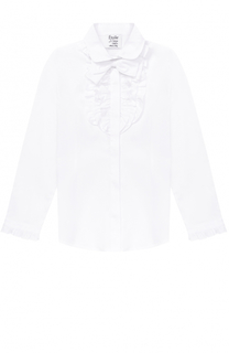 Хлопковая блуза с оборками и бантом Aletta