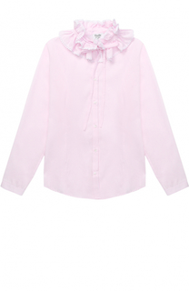Хлопковая блуза прямого кроя с оборками и воротником-стойкой Aletta