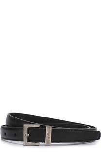 Кожаный ремень с металлизированной пряжкой и логотипом бренда Saint Laurent