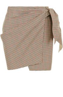Хлопковая мини-юбка в клетку с бантом Isabel Marant Etoile