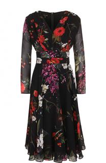 Приталенное шелковое платье с цветочным принтом Escada