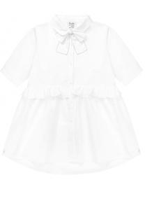 Хлопковая блуза свободного кроя с оборкой и бантом Aletta