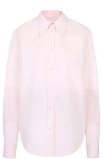 Хлопковая блуза в полоску с накладным карманом Mm6
