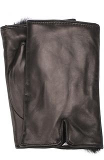 Кожаные митенки с меховой подкладкой Sermoneta Gloves
