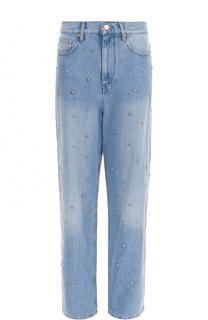 Широкие джинсы с потертостями и жемчужной отделкой Isabel Marant Etoile
