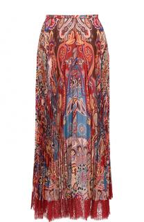 Шелковая плиссированная юбка с принтом Roberto Cavalli