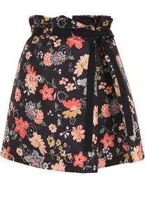 Мини-юбка с цветочным принтом и поясом REDVALENTINO