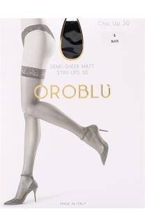 Капроновые чулки с кружевной отделкой Oroblu