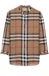 Хлопковая блуза в клетку с укороченным рукавом Burberry