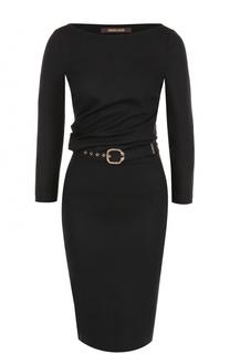 Платье-миди с драпировкой и укороченным рукавом Roberto Cavalli