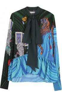 Блуза свободного кроя с воротником аскот и принтом Mary Katrantzou