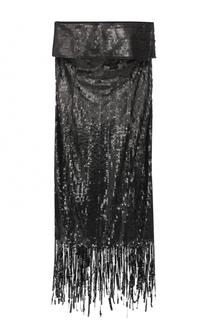 Платье-бюстье с пайетками и бахромой Oscar de la Renta