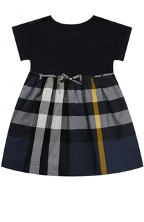 Комбинированное платье из хлопка с принтом и поясом Burberry