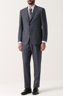 Шерстяной костюм в клетку с пиджаком на двух пуговицах Brioni