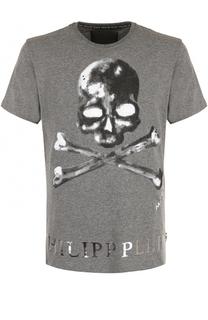 Хлопковая футболка с принтом Philipp Plein