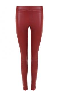 Однотонные кожаные брюки-скинни Helmut Lang