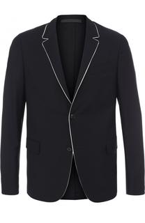 Шерстяной однобортный пиджак с контрастной отделкой Valentino