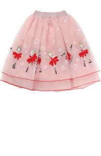 Многослойная юбка-миди с вышивкой Simonetta
