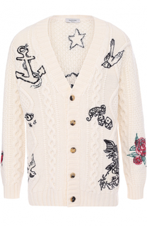 Шерстяной кардиган с контрастной вышивкой Valentino