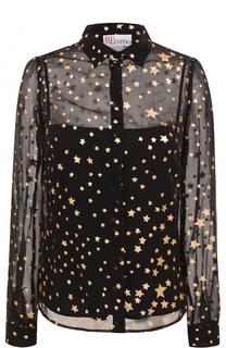 Шелковая полупрозрачная блуза с принтом в виде звезд REDVALENTINO