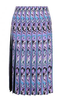 Шелковая юбка-миди в складку Emilio Pucci