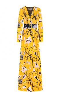 Платье-макси с цветочным принтом и контрастным поясом Emilio Pucci