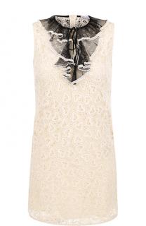Кружевное мини-платье с контрастной отделкой REDVALENTINO