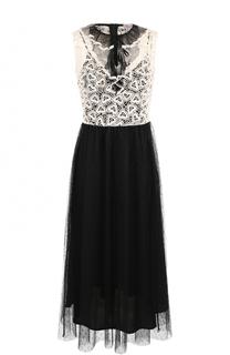 Приталенное платье-миди с контрастным лифом REDVALENTINO