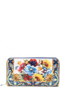 Кожаное портмоне с принтом на молнии Dolce & Gabbana