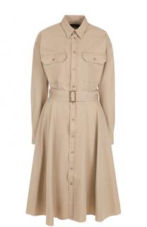 Платье-рубашка с накладными карманами и поясом Polo Ralph Lauren