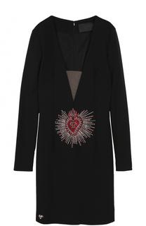 Платье-футляр с глубоким V-образным вырезом Philipp Plein