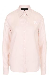 Шелковая блуза прямого кроя в полоску Rochas