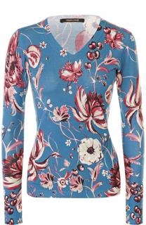 Облегающий пуловер С V-образным вырезом и цветочным принтом Roberto Cavalli