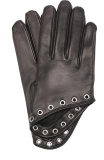 Кожаные перчатки с металлическими люверсами Alexander McQueen