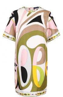 Шелковое платье прямого кроя с принтом Emilio Pucci