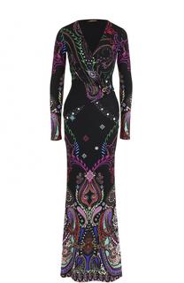 Приталенное платье-макси с ярким принтом Roberto Cavalli